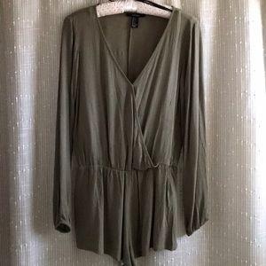 Olive Green Long Sleeve Romper